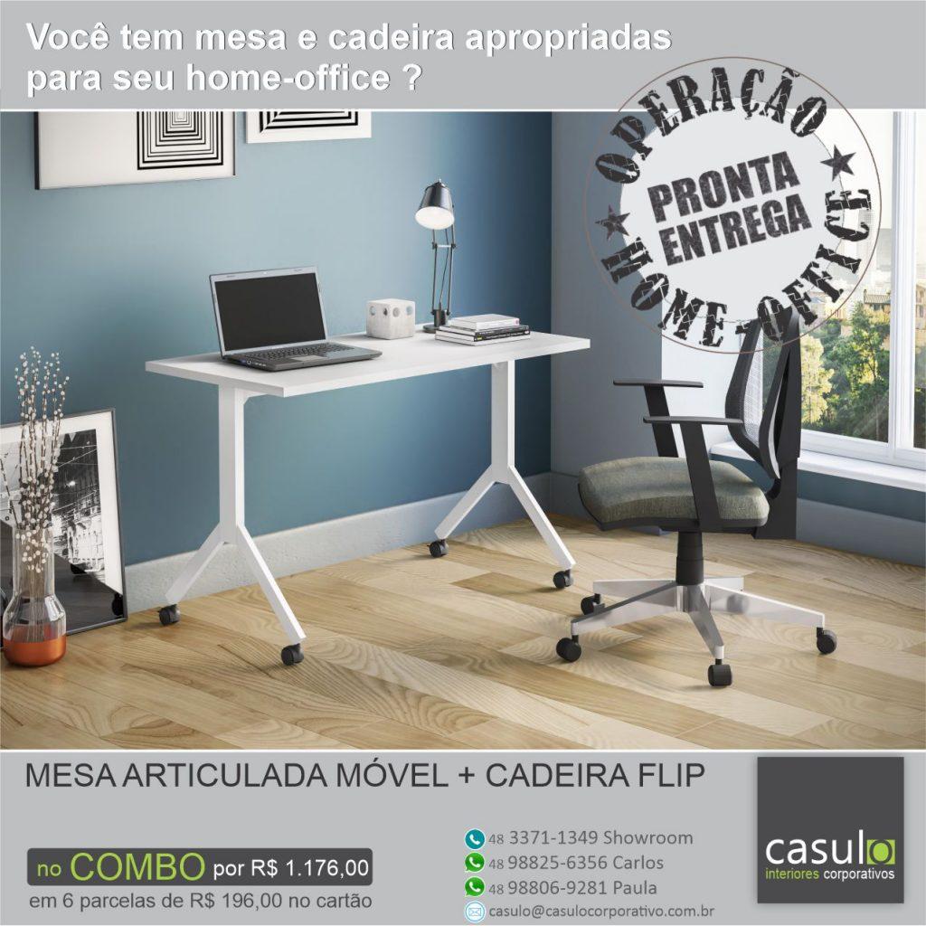 Mesa Articulada Móvel + Cadeira Flip Cavaletti